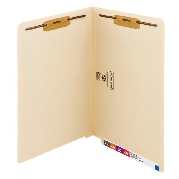 Smead End Tab Fastener File Folder, Shelf-Master® Reinforced Straight-Cut Tab, 2 Fasteners, Legal Size, Manila, 50 per Box (37115)