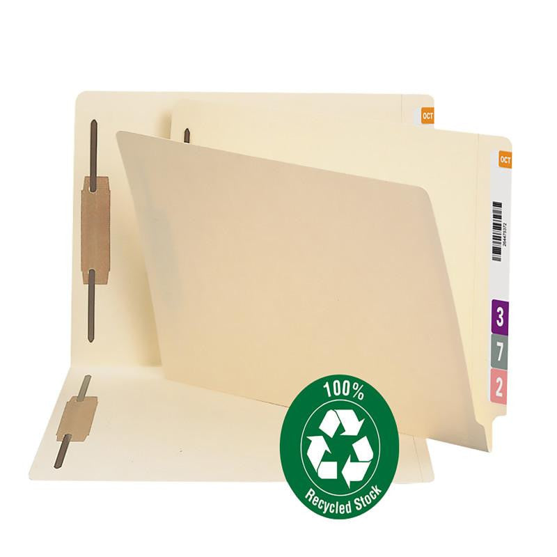 Smead End Tab 100% Recycled Fastener Folder, Reinforced Straight-Cut Tab, 2 Fasteners, Legal, Manila, 50 per Box (37160)