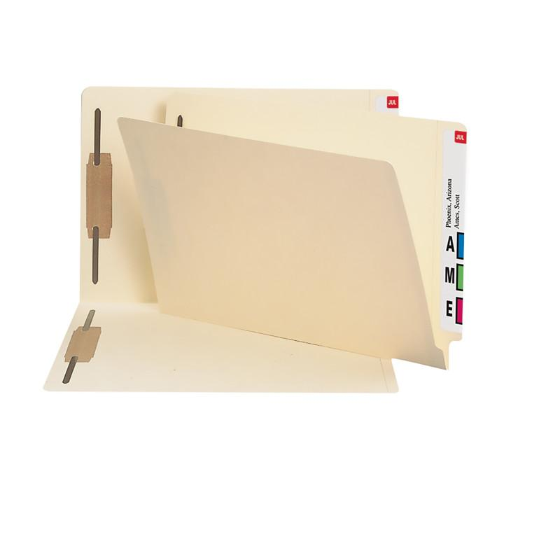 Smead End Tab Fastener File Folder, Shelf-Master® Reinforced Straight-Cut Tab, 2 Fasteners, Legal Size, Manila, 50 per Box (37215)