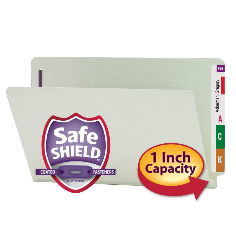 Smead End Tab Pressboard Fastener Folder with SafeSHIELD® Fastener, 2 Fasteners, Legal, Gray/Green (37705)