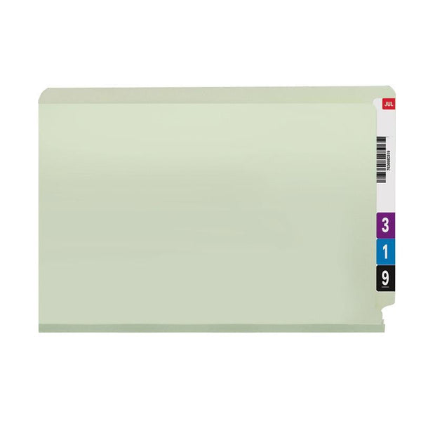 Smead End Tab Pressboard Fastener Folder with SafeSHIELD® Fastener, 2 Fasteners, Legal, Gray/Green (37715)