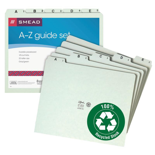 Smead Pressboard Guides, Plain 1/5-Cut Tab (A-Z), Set of 25, Letter Size, Gray/Green, 25 per Set (50376)