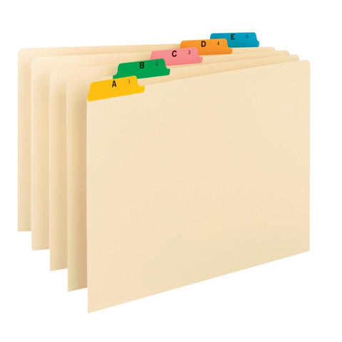 Smead Guides, Multi-Colored Fused Poly 1/5-Cut Tab (A-Z), Legal Size, Manila, 25 per Set (52180)