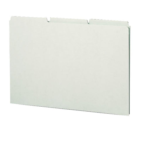 Smead Pressboard Guides, Plain 1/3-Cut Tab (Blank), Legal Size, Gray/Green, 50 per Box (52334)