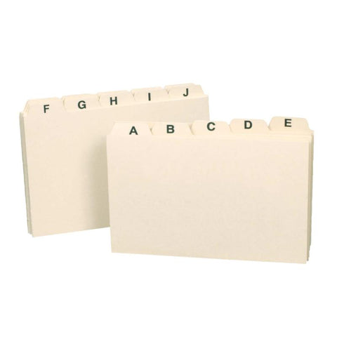 "Smead Card Guide, Plain 1/5-Cut Tab (A-Z), 5""W x 3""H, Manila, 25 per Set (55076)"