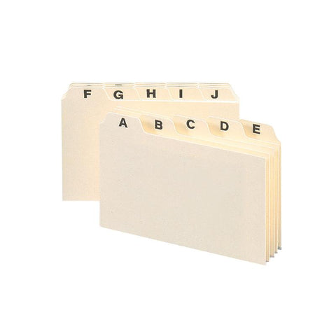 "Smead Card Guide, Plain 1/5-Cut Tab (A-Z), 6""W x 4""H, Manila, 25 per Set (56076)"