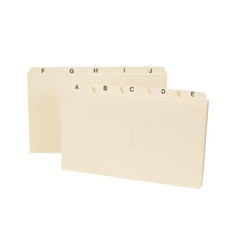 "Smead Card Guide, Plain 1/5-Cut Tab (A-Z), 8""W x 5""H, Manila, 25 per Set (57076)"