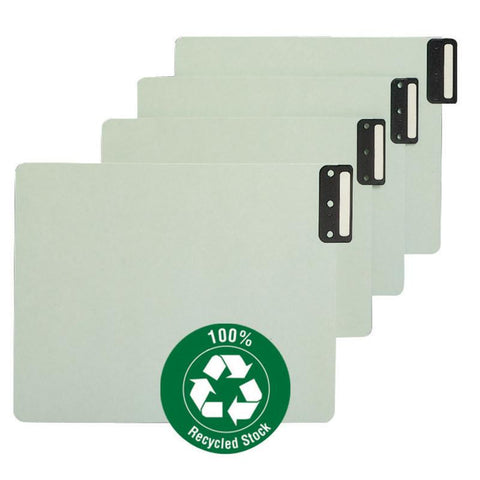 Smead End Tab 100% Recycled Pressboard Guides, Vertical Metal Tab (Blank), Extra Wide Letter Size, Gray/Green, 50 per Box (61635)