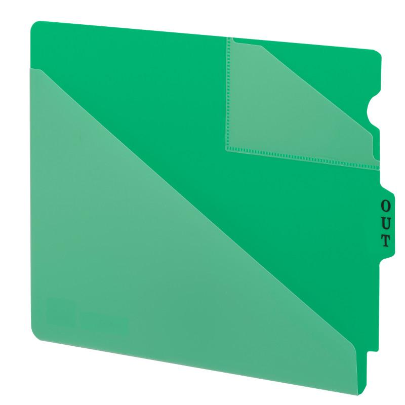 Smead End Tab Poly Out Guide, Two-Pocket Style, Center Position Tab, Extra Wide Letter Size, Green, 50 per Box (61962)