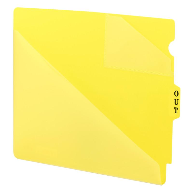 Smead End Tab Poly Out Guide, Two-Pocket Style, Center Position Tab, Extra Wide Letter Size, Yellow, 50 per Box (61966)