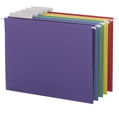 Smead Hanging File Folder with Tab, 1/3-Cut Adjustable Tab, Letter Size, Assorted Colors, 25 per Box (64020)