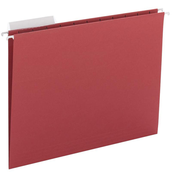 Smead Hanging File Folder with Tab, 1/3-Cut Adjustable Tab, Letter Size, Red, 25 per Box (64024)