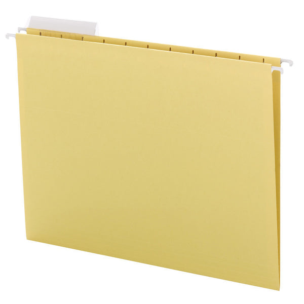 Smead Hanging File Folder with Tab, 1/3-Cut Adjustable Tab, Letter Size, Yellow, 25 per Box  (64025)