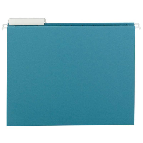 Smead Hanging File Folder with Tab, 1/3-Cut Adjustable Tab, Letter Size, Teal, 25 per Box (64033)