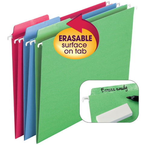 Smead Erasable FasTab® Hanging File Folder, 1/3-Cut Built-In Tab, Letter Size, Assorted Colors, 18 per Box (64031)