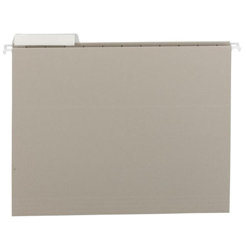 Smead Hanging File Folder with Tab, 1/3-Cut Adjustable Tab, Letter Size, Gray, 25 per Box (64027)