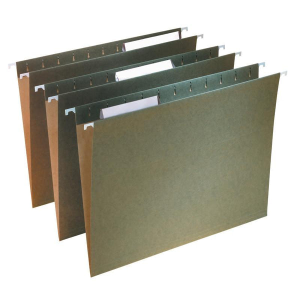 Smead Hanging File Folder with Tab, 1/3-Cut Adjustable Tab, Letter Size, Standard Green,  25 per Box (64035)