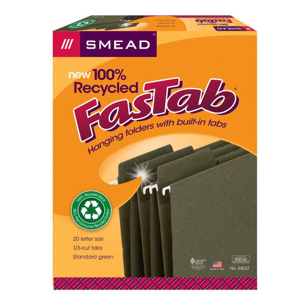 Smead 100% Recycled FasTab® Hanging File Folder,  1/3-Cut Built-In Tab, Letter Size, Moss, 20 per Box (64037)