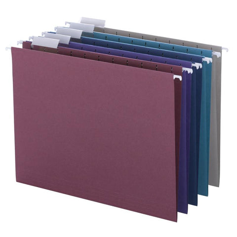 Smead Hanging File Folder with Tab, 1/5-Cut Adjustable Tab, Letter Size, Assorted Colors, 25 per Box (64056)