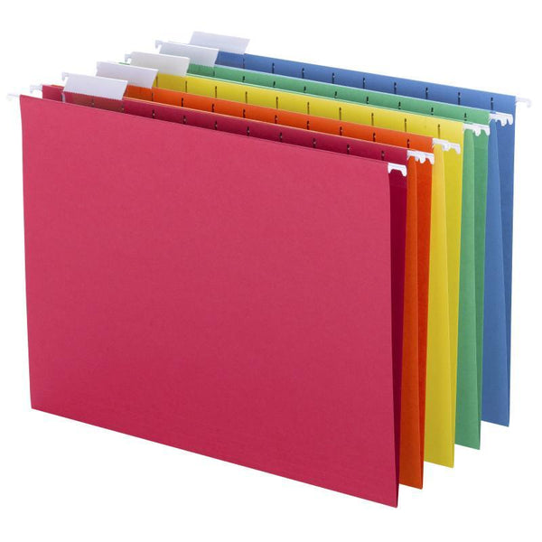 Smead Hanging File Folders, 1/5-Cut Tab, Letter Size, Assorted Colors, 25 per Box (64059)