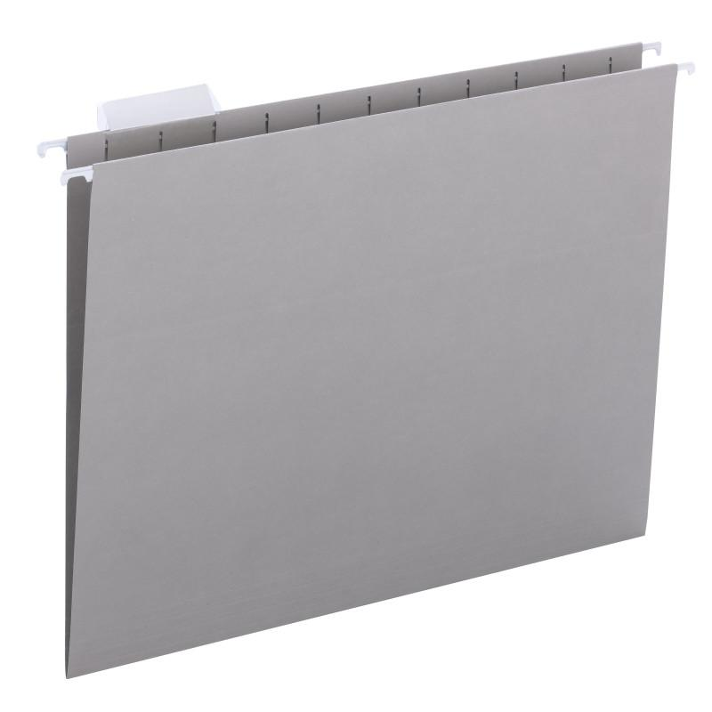Smead Hanging File Folder with Tab, 1/5-Cut Adjustable Tab, Letter Size, Gray, 25 per Box (64063)