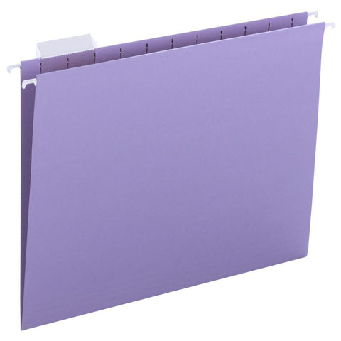 Smead Hanging File Folder with Tab, 1/5- Cut Adjustable Tab, Letter Size, Lavender, 25 per Box (64064)