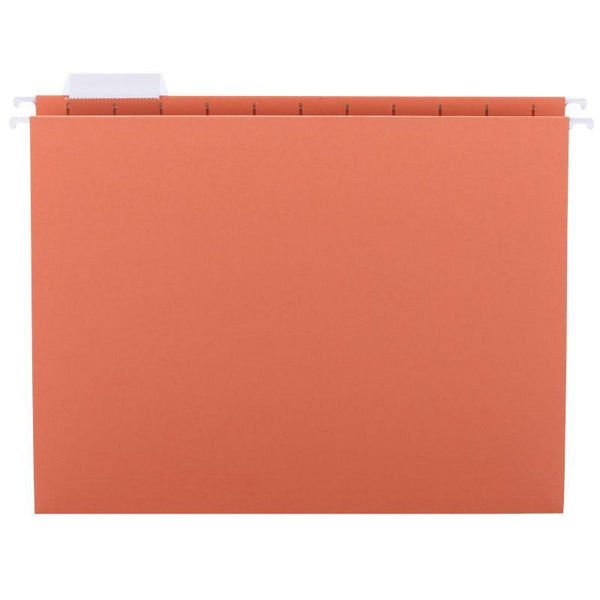 Smead Hanging File Folder with Tab, 1/5-Cut Adjustable Tab, Letter Size, Orange, 25 per Box (64065)