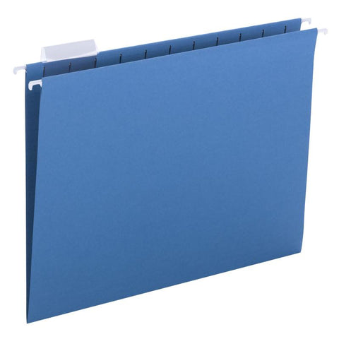 Smead Hanging File Folder with Tab,  1/5-Cut Adjustable Tab, Letter Size, Sky Blue, 25 per Box (64068)