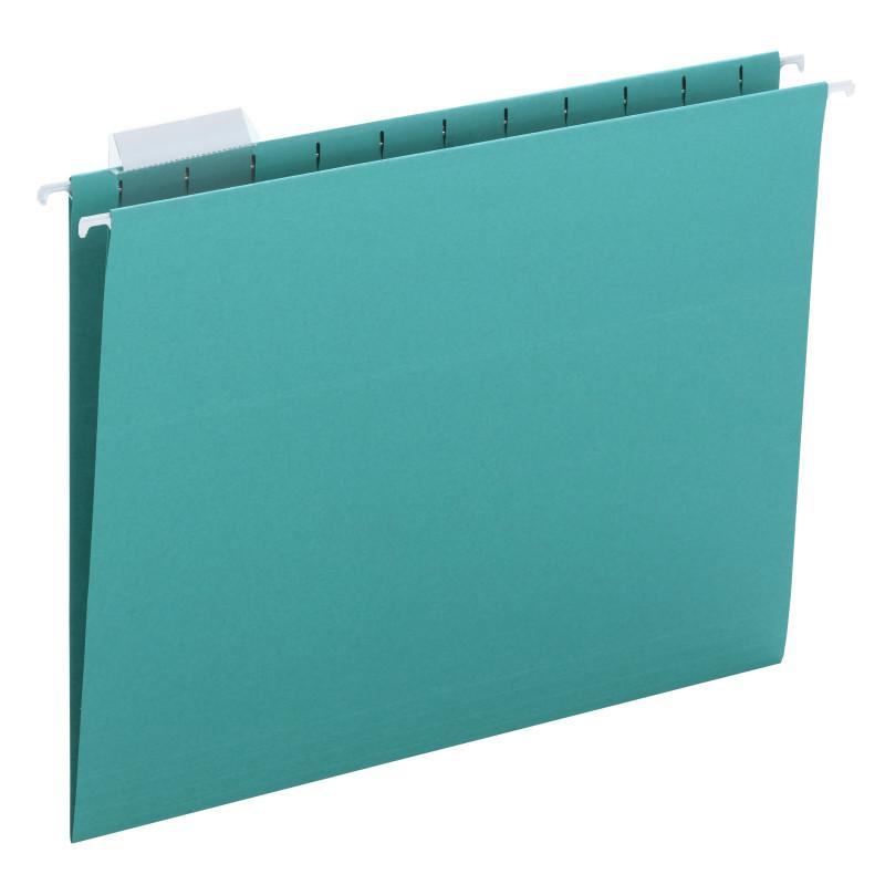 Smead Hanging File Folder with Tab,  1/5-Cut Adjustable Tab, Letter Size, Teal, 25 per Box (64074)