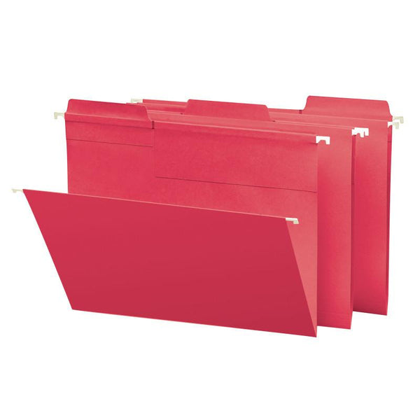 Smead FasTab® Hanging File Folder, 1/3-Cut Built-In Tab, Letter Size, Red, 20 per Box (64096)