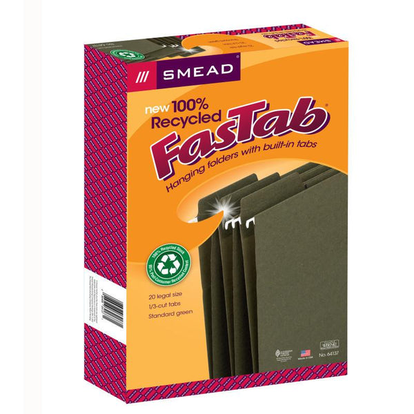 Smead 100% Recycled FasTab® Hanging File Folder, 1/3-Cut Built-In Tab, Legal Size, Moss, 20 per Box (64137)