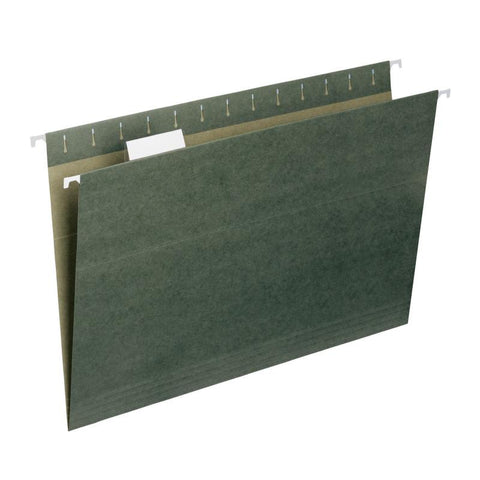 Smead Hanging File Folder with Tab, 1/5- Cut Adjustable Tab, Legal Size, Standard Green, 25 per Box (64155)