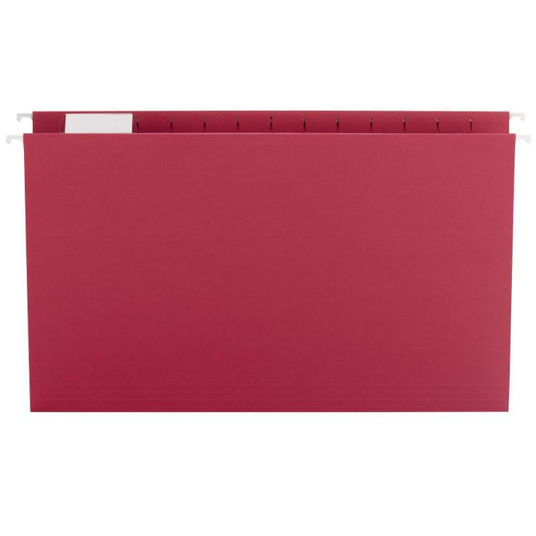 Smead Hanging File Folder with Tab, 1/5-Cut Adjustable Tab, Legal Size, Red, 25 per Box (64167)
