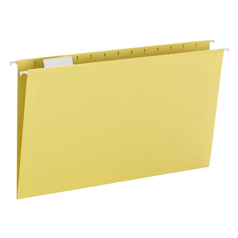 Smead Hanging File Folder with Tab, 1/5-Cut Adjustable Tab, Legal Size, Yellow, 25 per Box (64169)