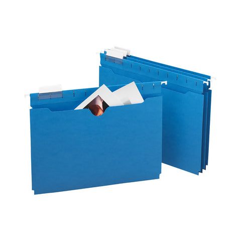 Smead FasTab® Hanging File Jacket, No Expansion, 1/3-Cut Built-in Tab, Letter Size, Sky Blue, 25 per Box (64200)