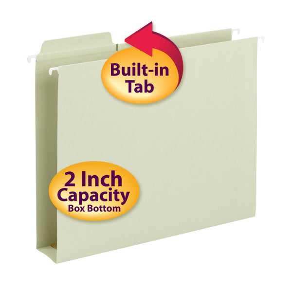 "Smead FasTab® Hanging Box Bottom File Folder, 2"" Expansion, 1/3-Cut Built-in Tab, Letter Size, Moss, 20 per Box (64201)"