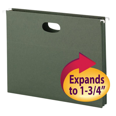 "Smead Hanging File Pocket, 1-3/4"" Expansion, Letter Size, Standard Green, 25 per Box (64218)"