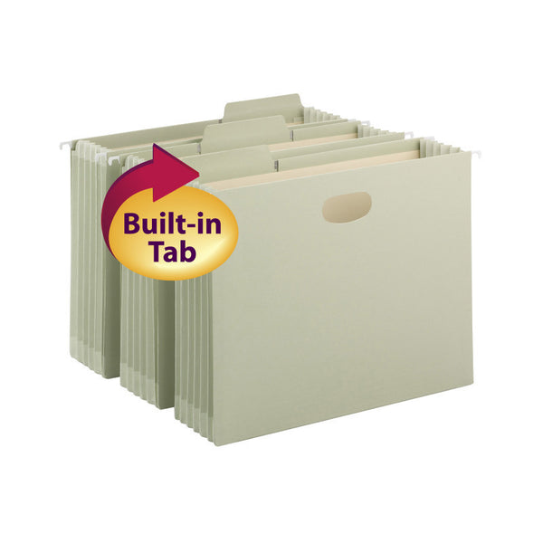 "Smead FasTab® Hanging File Pocket with TUFF® Construction and Full-Height Gusset, 5-1/4"" expansion,  1/3-Cut Built-in Tab, Letter Size, Moss, 9 per Box (64224)"