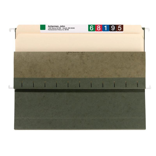 "Smead Hanging Box Bottom File Folder, 1"" Expansion, Letter Size, Standard Green, 25 per Box (64239)"