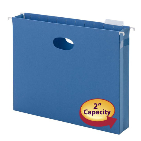"Smead Hanging File Pocket with Tab, 2"" Expansion, 1/5-Cut Adjustable Tab, Letter Size, Sky Blue, 25 per Box (64250)"