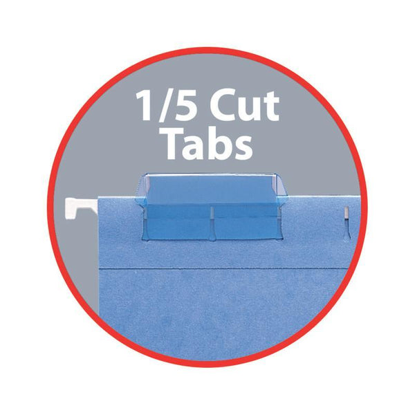 "Smead Hanging File Pocket with Tab, 3"" Expansion, 1/5-Cut Adjustable Tab, Letter Size, Sky Blue, 25 per Box (64270)"