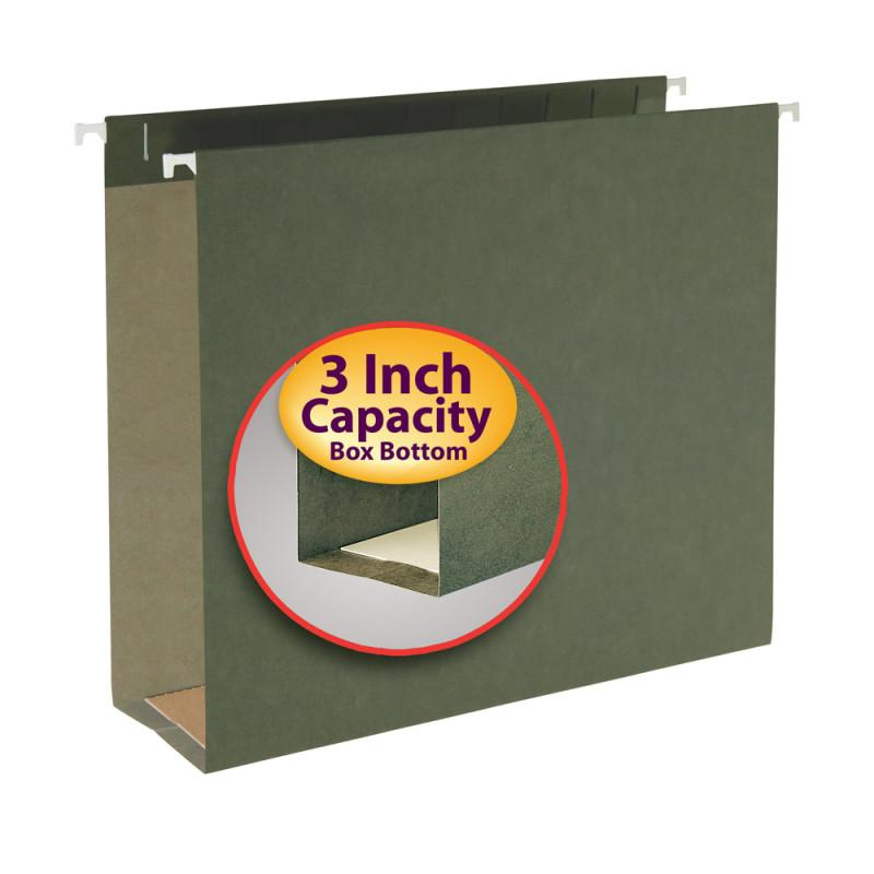 "Smead Hanging Box Bottom File Folder, 3"" Expansion, Letter Size, Standard Green,  25 per Box (64279)"