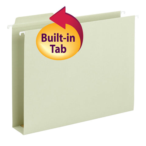 "Smead FasTab® Hanging Box Bottom File Folder, 2"" Expansion, 1/3-Cut Built-in Tab, Legal Size, Moss,  20 per Box (64301)"