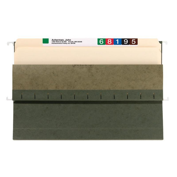 "Smead Hanging File Pocket, 1-3/4"" Expansion, Legal Size, Standard Green, 25 per Box (64318)"