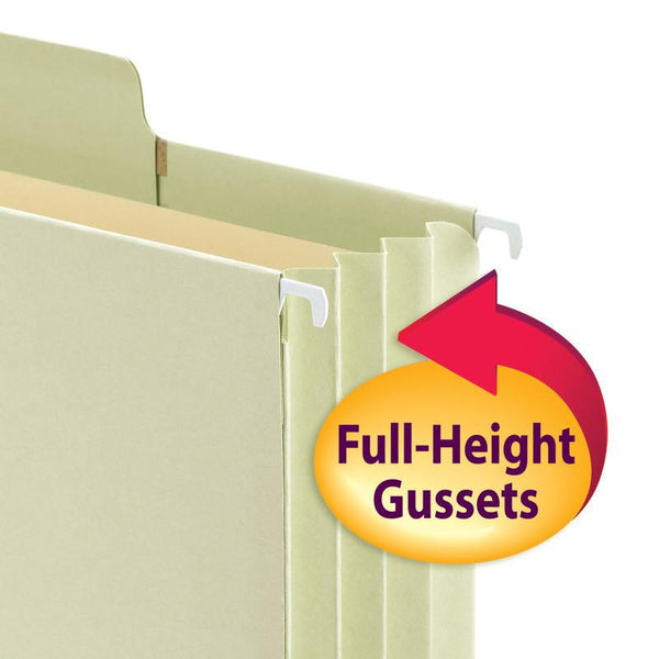 "Smead FasTab® Hanging File Pocket with Full-Height Gusset, 3-1/2"" Expansion, 1/3-Cut Built-in Tab, Legal Size, Moss, 9 per Box (64322)"