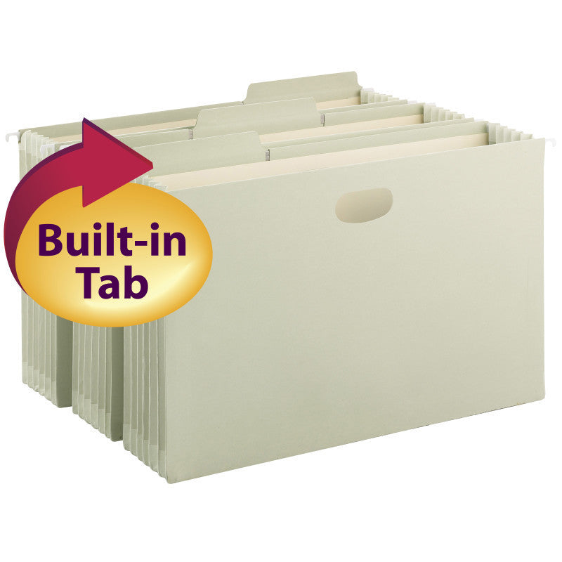 "Smead FasTab® Hanging File Pocket with TUFF® Construction and Full-Height Gusset, 5-1/4"" expansion, 1/3-Cut Built-in Tabs, Legal Size, Moss, 9 per Box (64324)"