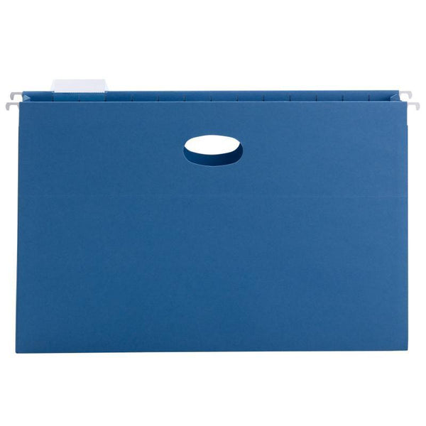 "Smead Hanging File Pocket with Tab,  2"" Expansion, 1/5-Cut Adjustable Tab, Legal Size, Sky Blue, 25 per Box (64350)"