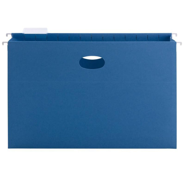 "Smead Hanging File Pocket with Tab, 3"" Expansion, 1/5-Cut Adjustable Tab, Legal Size, Sky Blue, 25 per Box (64370)"