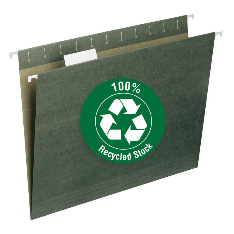 Smead 100% Recycled Hanging File Folder with Tab, 1/5-Cut Adjustable Tab, Letter Size, Standard Green, 25 per Box (65001)