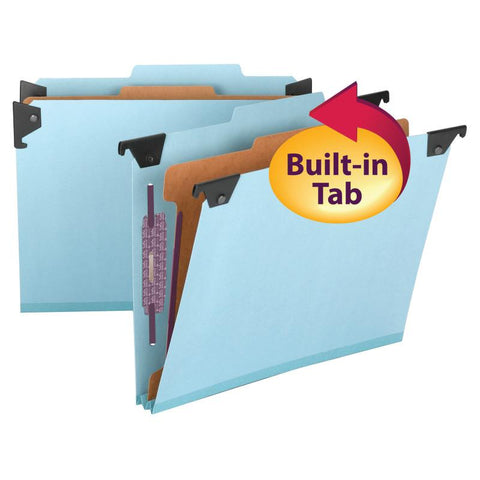 Smead  FasTab® Hanging Pressboard Classification Folder with SafeSHIELD® Fastener, 1 Divider, 2/5-Cut Built-in Tab, Letter Size, Blue, 10 per Box (65105)